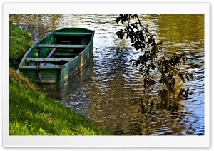Empty Boat at a River Bank in Slovenia HD Wide Wallpaper for Widescreen