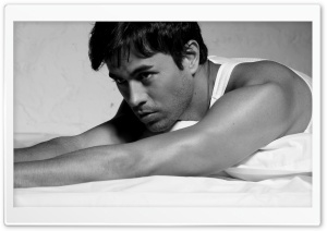 Enrique Iglesias Black and White HD Wide Wallpaper for Widescreen