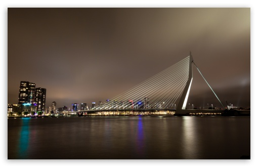 Erasmus Bridge, Rotterdam, The Netherlands HD wallpaper for Wide 16:10 5:3 Widescreen WHXGA WQXGA WUXGA WXGA WGA ; HD 16:9 High Definition WQHD QWXGA 1080p 900p 720p QHD nHD ; UHD 16:9 WQHD QWXGA 1080p 900p 720p QHD nHD ; Mobile 5:3 16:9 - WGA WQHD QWXGA 1080p 900p 720p QHD nHD ; Dual 4:3 5:4 UXGA XGA SVGA QSXGA SXGA ;