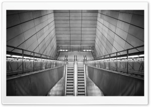 Escalators Black And White HD Wide Wallpaper for Widescreen