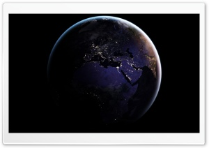 Europe, Africa, Earth at Night from Space HD Wide Wallpaper for 4K UHD Widescreen desktop & smartphone