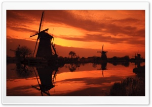 Evening Sky And Windmills HD Wide Wallpaper for Widescreen