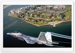 F22A Raptor Flying Over Virginia HD Wide Wallpaper for Widescreen