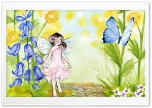 Fairy Watercolor Painting HD Wide Wallpaper for Widescreen