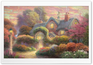 Fairytale Cottage Painting HD Wide Wallpaper for Widescreen