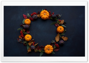 Fall Deco Wreath HD Wide Wallpaper for 4K UHD Widescreen desktop & smartphone