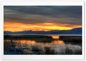 Fall Evening, Utah Lake HD Wide Wallpaper for 4K UHD Widescreen desktop & smartphone