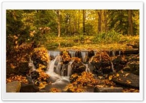 Fall, Foliage, Creek, Waterfall HD Wide Wallpaper for 4K UHD Widescreen desktop & smartphone