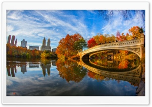 Fall Foliage in Central Park New York City HD Wide Wallpaper for 4K UHD Widescreen desktop & smartphone