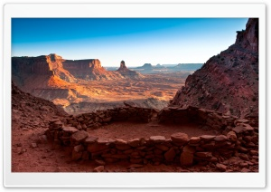 False Kiva Stone Circle in Canyonlands National Park in Utah, United States HD Wide Wallpaper for Widescreen