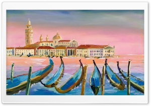 Famous Venice Oil Painting in Pink HD Wide Wallpaper for 4K UHD Widescreen desktop & smartphone