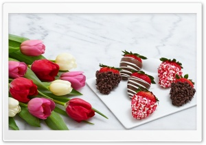 Fancy Strawberries Dipped In Chocolate HD Wide Wallpaper for 4K UHD Widescreen desktop & smartphone