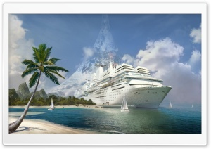 Fantasy Art Huge Yacht HD Wide Wallpaper for Widescreen