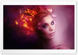 Fantasy Fire Woman HD Wide Wallpaper for Widescreen