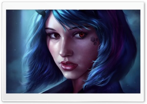 Fantasy Girl Face Blue Hair HD Wide Wallpaper for Widescreen