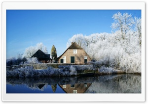Farmhouse Along The Kromme Rijn River HD Wide Wallpaper for Widescreen
