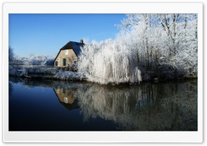 Farmhouse And Frosty Trees HD Wide Wallpaper for 4K UHD Widescreen desktop & smartphone