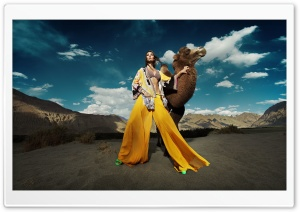 Fashion Model Female Photoshoot Desert Camel Ultra HD Wallpaper for 4K UHD Widescreen desktop, tablet & smartphone