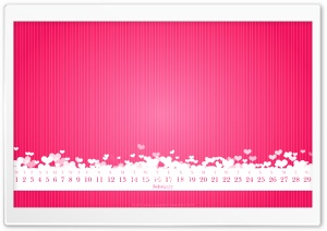 February 2012 Calendar (Pink) HD Wide Wallpaper for Widescreen