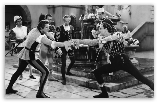 Fencing Duel   Old Movie HD wallpaper for Wide 16:10 5:3 Widescreen WHXGA WQXGA WUXGA WXGA WGA ; Standard 3:2 Fullscreen DVGA HVGA HQVGA devices ( Apple PowerBook G4 iPhone 4 3G 3GS iPod Touch ) ; Mobile 5:3 3:2 - WGA DVGA HVGA HQVGA devices ( Apple PowerBook G4 iPhone 4 3G 3GS iPod Touch ) ;