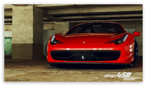 Ferrari 458 Italia 3D Max HD wallpaper for HD 16:9 High Definition WQHD QWXGA 1080p 900p 720p QHD nHD ; Mobile 16:9 - WQHD QWXGA 1080p 900p 720p QHD nHD ;
