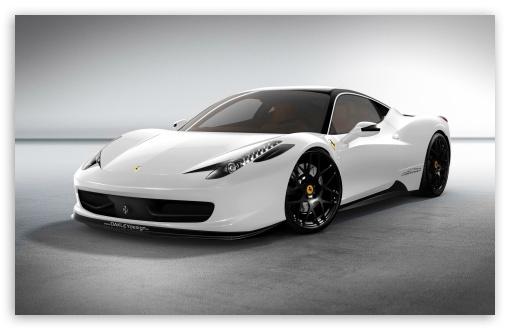 Download Ferrari 458 White Car UltraHD Wallpaper