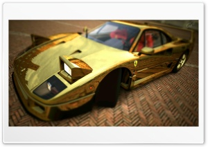 Ferrari F40 Gold HD Wide Wallpaper for Widescreen