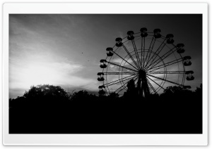 Ferris Wheel In Black And White HD Wide Wallpaper for Widescreen