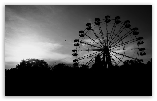 Download ferris wheel in black and white hd wallpaper