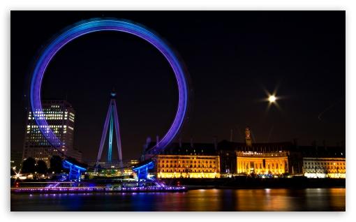 Ferris Wheel In London HD wallpaper for Wide 5:3 Widescreen WGA ; HD 16:9 High Definition WQHD QWXGA 1080p 900p 720p QHD nHD ; Mobile 5:3 16:9 - WGA WQHD QWXGA 1080p 900p 720p QHD nHD ;