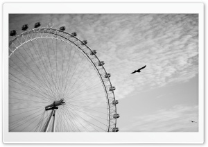 Ferris Wheel Monochrome HD Wide Wallpaper for Widescreen