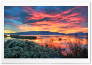 Fiery Sunset Over Utah Lake HD Wide Wallpaper for 4K UHD Widescreen desktop & smartphone