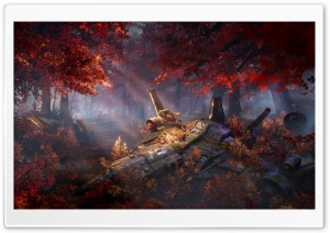 Fighter Aircraft Crashed, Autumn Art Ultra HD Wallpaper for 4K UHD Widescreen desktop, tablet & smartphone