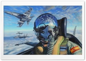 Fighter Aircrafts Flight Painting Ultra HD Wallpaper for 4K UHD Widescreen desktop, tablet & smartphone
