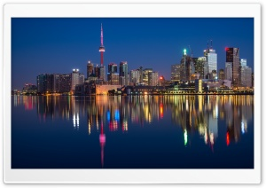 Financial District Toronto at Night HD Wide Wallpaper for 4K UHD Widescreen desktop & smartphone