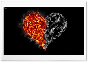 Fire and Smoke Heart HD Wide Wallpaper for Widescreen