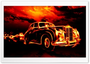 Fire Car HD Wide Wallpaper for Widescreen