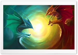 Fire Dragon Vs Water Dragon HD Wide Wallpaper for Widescreen
