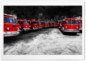 Fire Trucks - Red Black White HD Wide Wallpaper for Widescreen