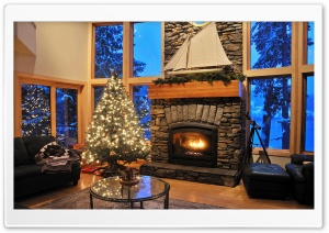 Fireplace, Christmas HD Wide Wallpaper for Widescreen