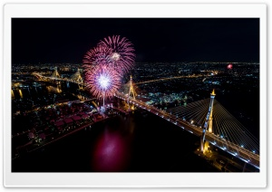 Fireworks Aerial View Ultra HD Wallpaper for 4K UHD Widescreen desktop, tablet & smartphone