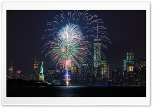 Fireworks and the New York City skyline HD Wide Wallpaper for 4K UHD Widescreen desktop & smartphone