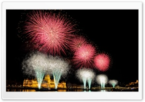 Fireworks from Hungarys birthday HD Wide Wallpaper for 4K UHD Widescreen desktop & smartphone