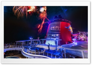 Fireworks On The Disney Cruise HD Wide Wallpaper for 4K UHD Widescreen desktop & smartphone