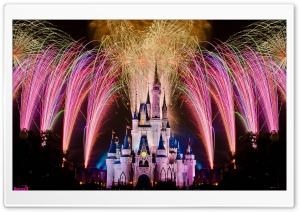Fireworks Over Cinderella Castle HD Wide Wallpaper for Widescreen