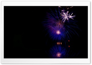 Fireworks Reflected in Water HD Wide Wallpaper for Widescreen