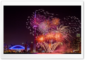 Fireworks Toronto Ultra HD Wallpaper for 4K UHD Widescreen desktop, tablet & smartphone