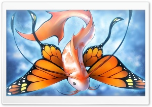 Fish Butterfly HD Wide Wallpaper for Widescreen