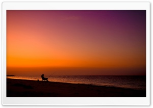 Fisherman Silhouette HD Wide Wallpaper for Widescreen