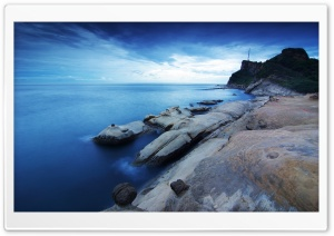 Fishing Along A Rocky Shore HD Wide Wallpaper for Widescreen